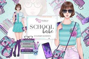 School Babe Clipart Set