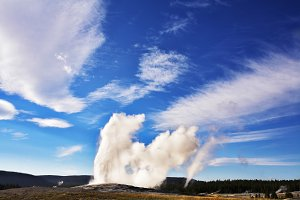 Boiling geothermal geyser