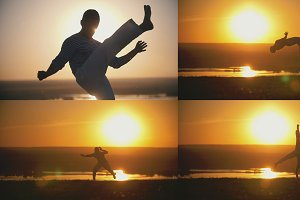 Acrobatic athlete is engaged in capoeira in the background of an orange sunset - 4 in 1