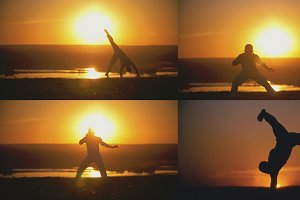 4 in 1 - Man athlete is performed capoeira fight in front of orange sunset