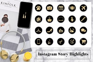 Gold & Black Instagram Icons