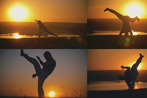 4 in 1 - fcrobat male is performed capoeira fighting in front of orange sunset