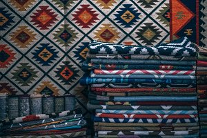 Folded Rugs Stacked Placed