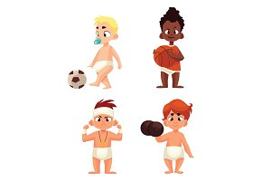 baby in diapers playing sports