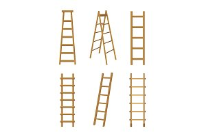 Wooden Stairs Ladders Different Set