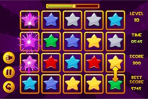 Interface STAR Match3 Games. Multicolored stars, game assets icons and buttons
