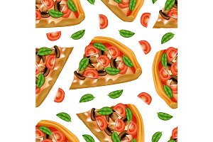 Pizza Seamless Pattern Background