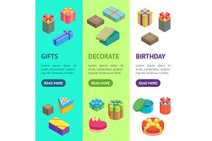 Cartoon Present Boxes Set