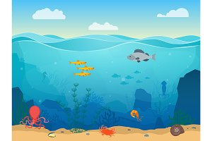 Sea Underwater Scene Background