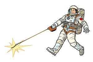 Astronaut and pet star, isolate on white background