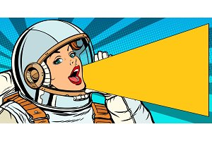 female astronaut is calling for a sale