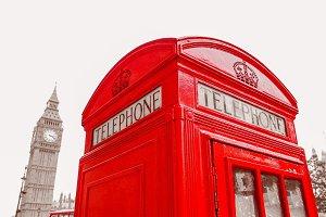 Vintage red telephone box