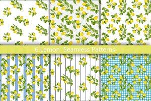 Lemon Seamless Pattern Set