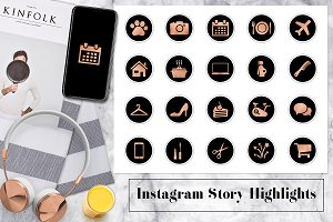 Black & Copper Instagram Highlights