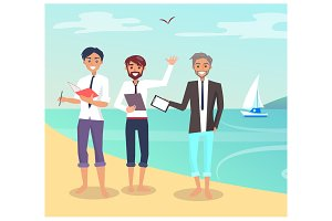 Business Travelling People Vector Illustration