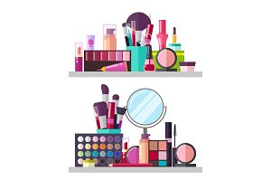 Make Up Big Collection Posters Vector Illustration