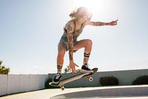 Women skater doing ollie