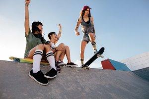 Girl practising skateboarding
