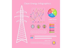 Clean Energy Infographic Set Vector Illustration