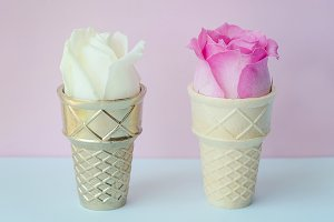 Ice Cream Cone, Gold, Pink Flower