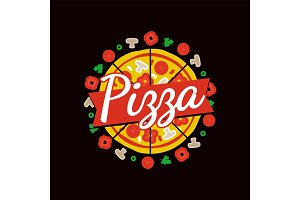 Delicious Pizza Cafe Bright Commercial Emblem
