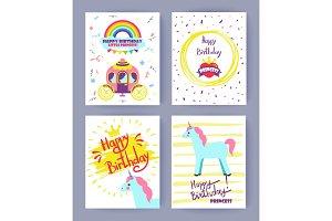 Happy Birthday Princess Set Vector Illustration