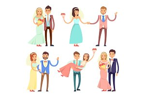 Newlyweds Dancing and Have Fun Vector Illustration