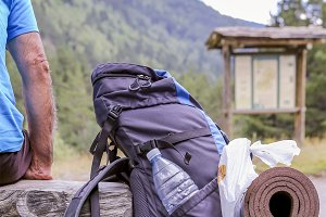 mountaineer and a hiking backpack