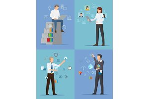 Four Banners with Busy People Vector Illustration