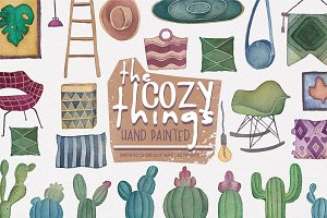 The Cozy Things (watercolor clipart)