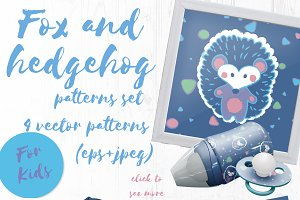 Fox and hedgehog vector patterns set