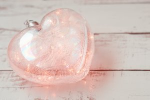 Heart shaped glowing lamp