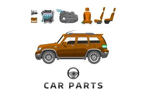 Car service parts flat auto mechanic repair of machines and equipment vector illustration