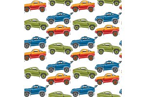 Vector seamless pattern background luxury car transportation detailed auto business transport design.