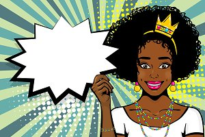 Black Queen girl pop art
