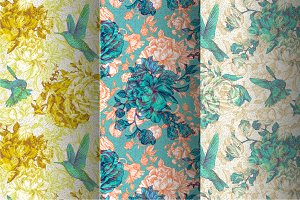 Patterns with Peonies and Birds