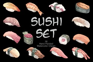 Sushi set (watercolor clip art)