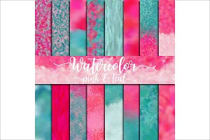Watercolor Pink & Teal Digital Paper