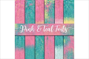 Pink & Teal Foils Digital Paper