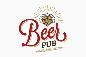 Beer pub vintage logo on white