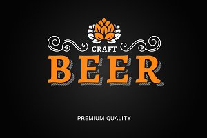 beer logo with vintage floral