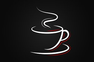 Coffee cup logo on black background