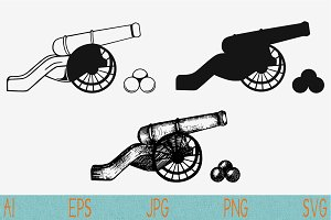ancient cannon set vector svg png