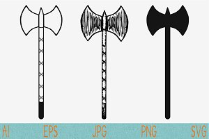 battle axe set vector svg png eps