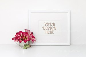 Horizontal frame mockup, red flowers