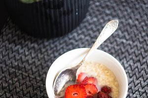 Healthy breakfast concept with oats