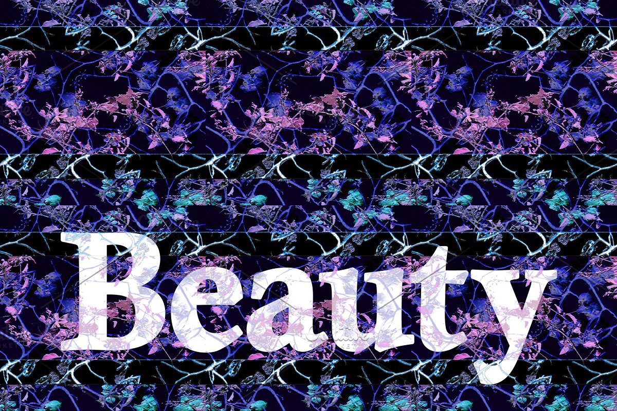Beauty Text Over Dark Floral Pattern Illustrations Creative Market