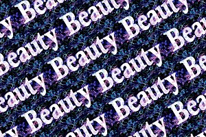 Beauty Text Pattern Over Dark Floral Background