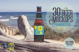 30 Beer Mockups in Formentera | -90%
