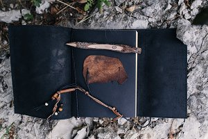 open leather handmade notebook and p